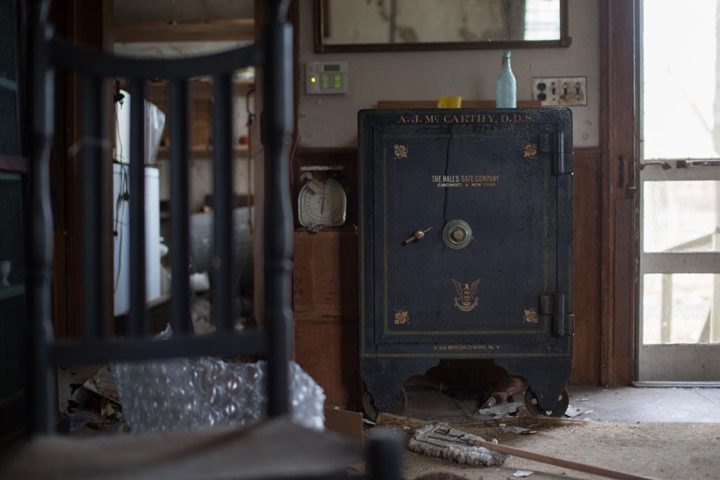 A blue safe
