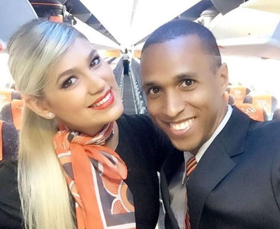 male and female flight attendants