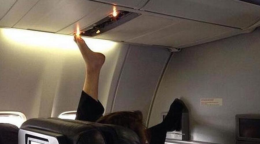 bare feet on plane