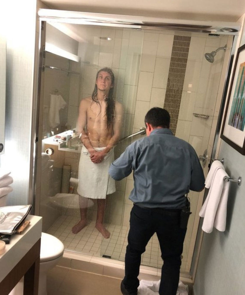 hotel fails stuck in shower