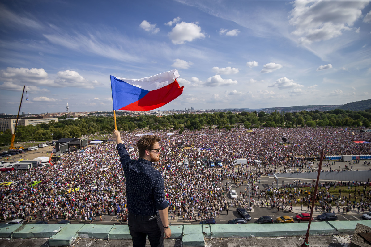 Protesters attend an Anti-Government protest at the Letna plain on June 23, 2019 in Prague, Czech Republic.