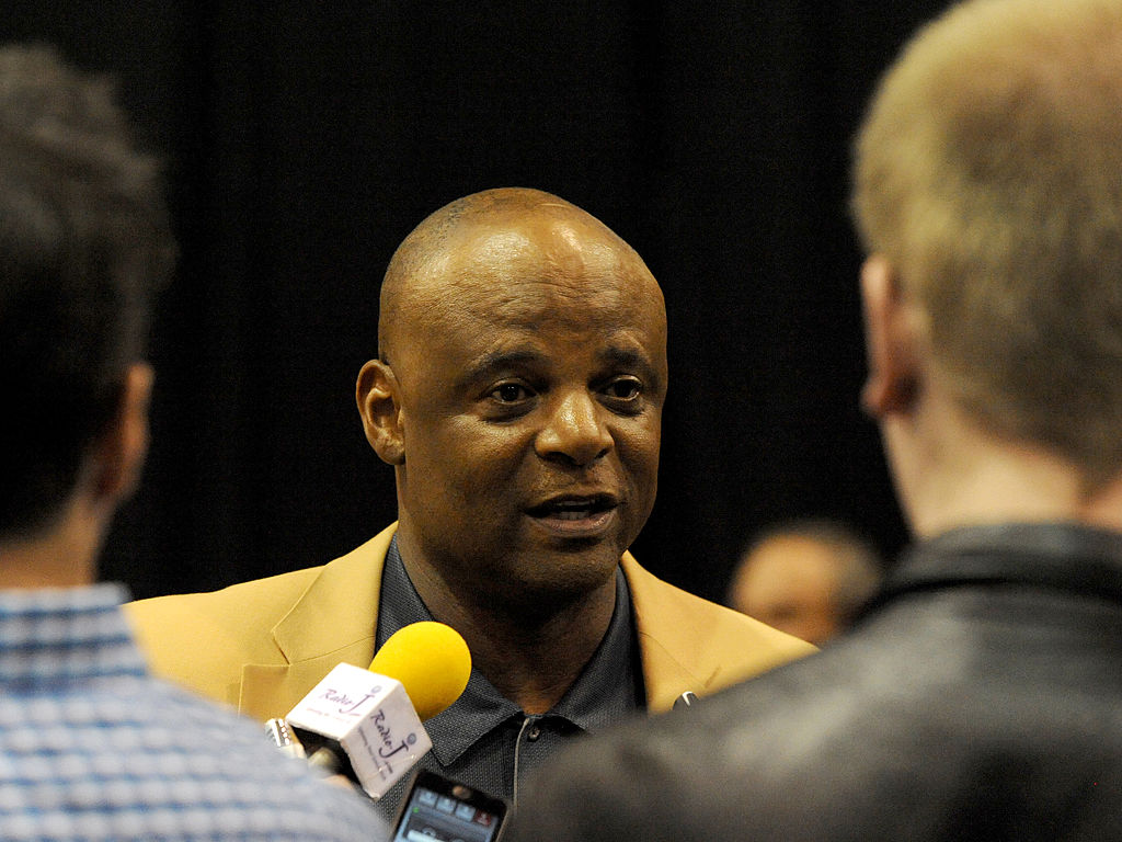 MAY 4, 2014 - CLEVELAND, OH: Hall of Fame quarterback Warren Moon answers questions from the media during the first Pro Football Hall of Fame Fan Fest at the IX Center in Cleveland, Ohio on May 4, 2014.