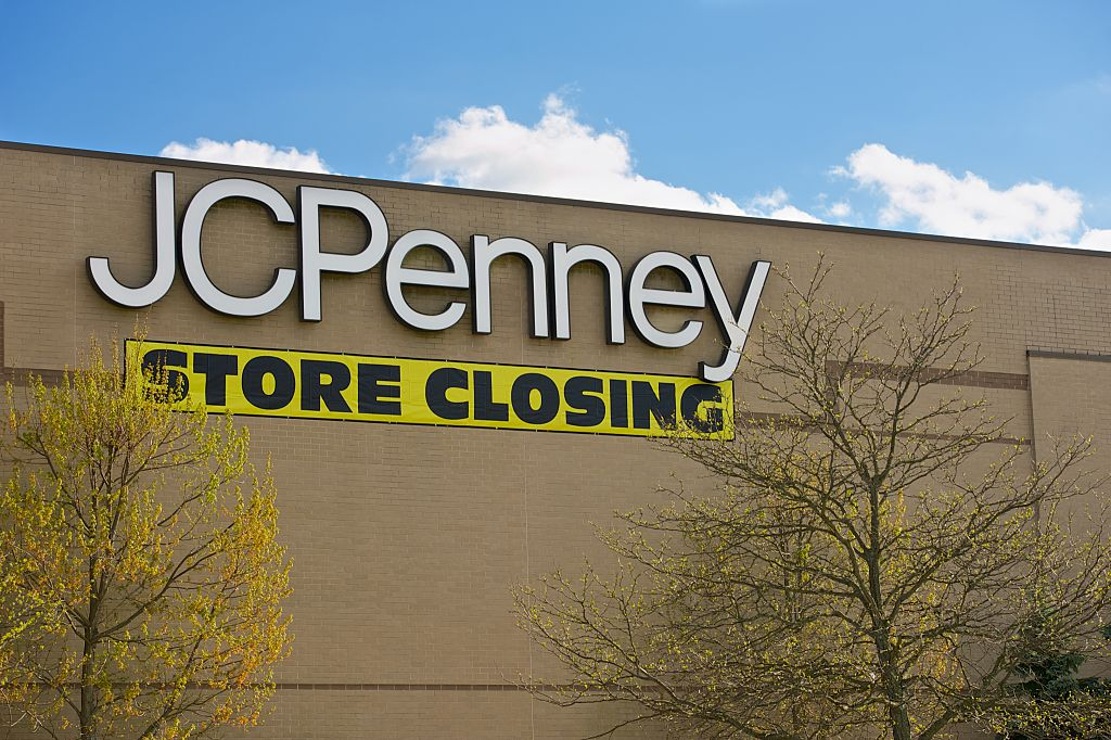 The JCPenny Department Store with a Store Closing banner