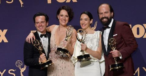 Andrew Scott, Phoebe Waller-Bridge, Sian Clifford, and Brett Gelman, winners of the Outstanding Comedy Series award for 'Fleabag,' pose in the press room