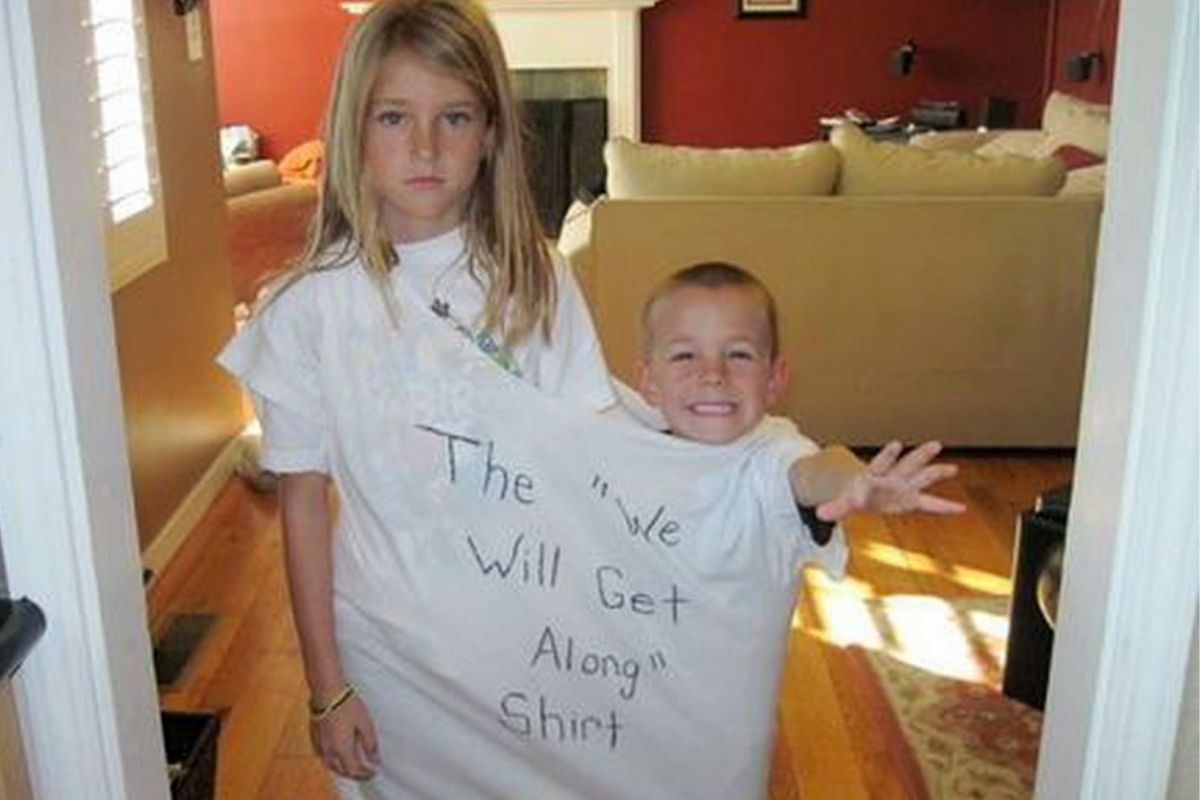 two kids in their get along tshirt