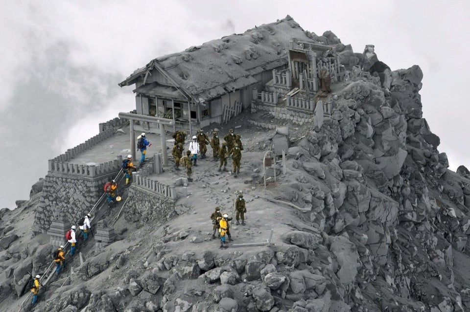 temple covered in ash after eruption