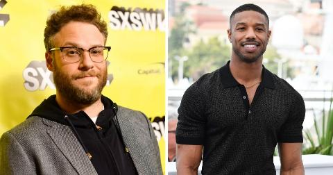 A portrait of Seth Rogen on the left, a portrait of Michael B. Jordan on the right