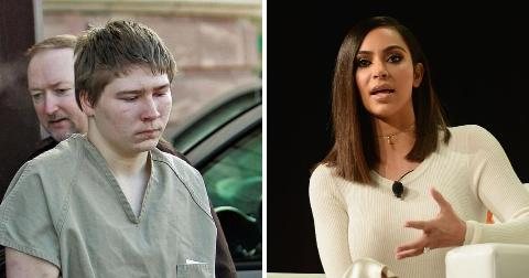 (L): Brendan Dassey in prison clothing, (R) Kim Kardashian speaking on stage