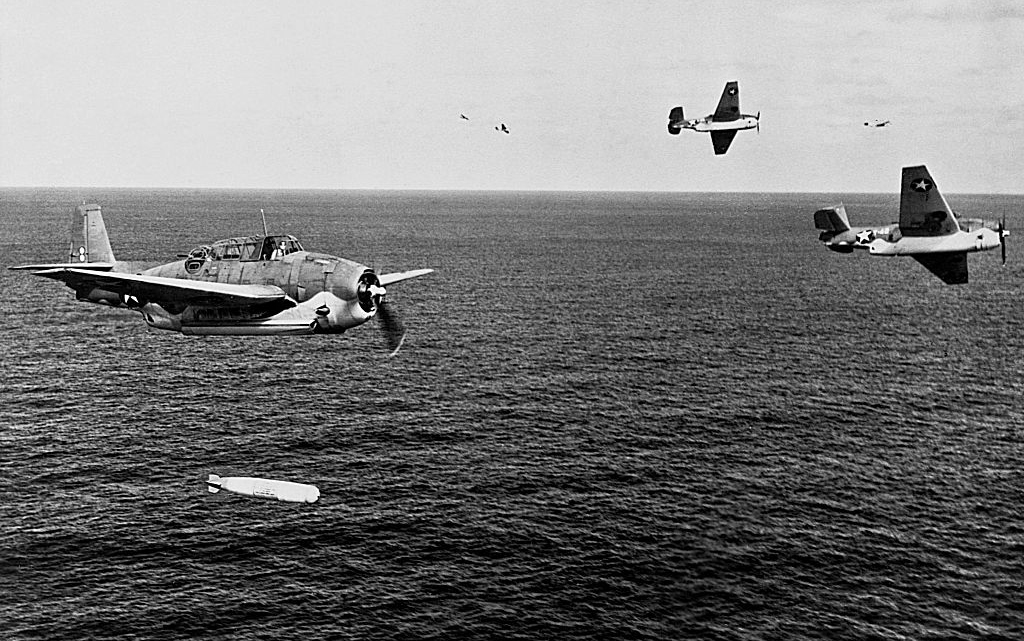 Plane dropping torpedoes