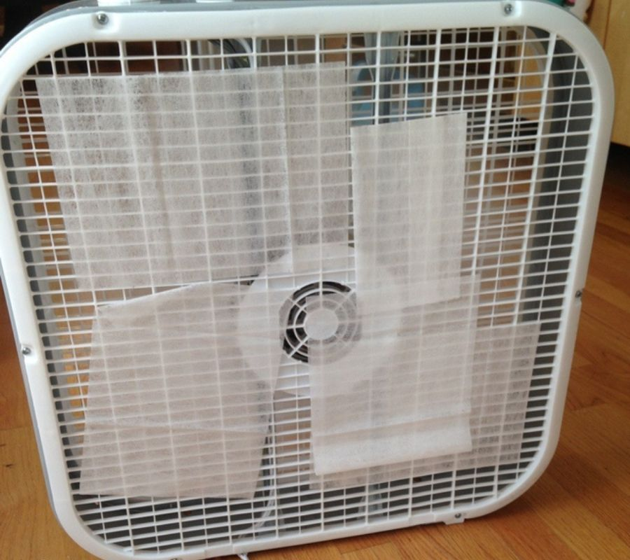 dryer sheets stuck to air freshener fan that's working