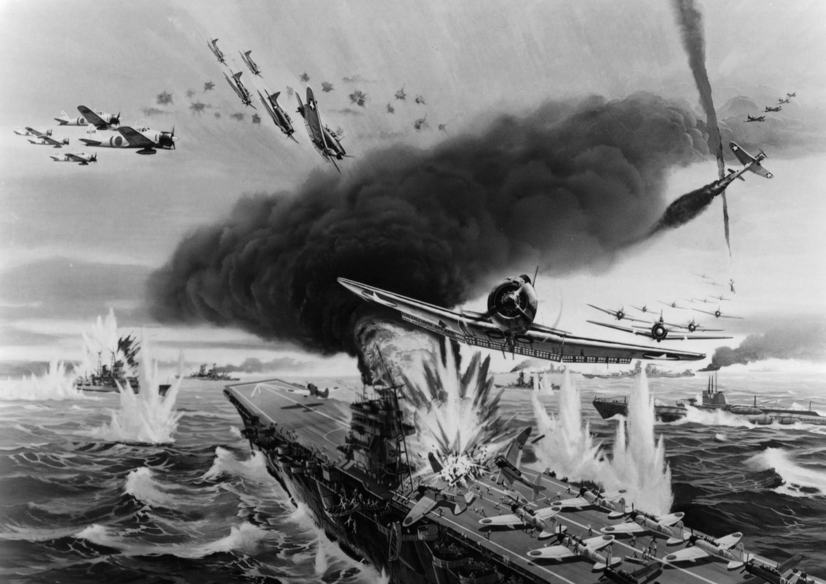 An illustration of the Battle of Midway for Universal Studios movie