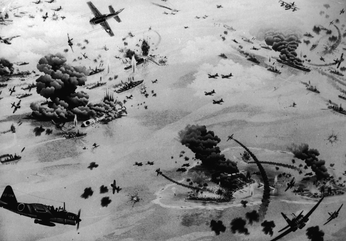 An artist's impression illustrates the Battle of Midway, during World War II, June 1942.