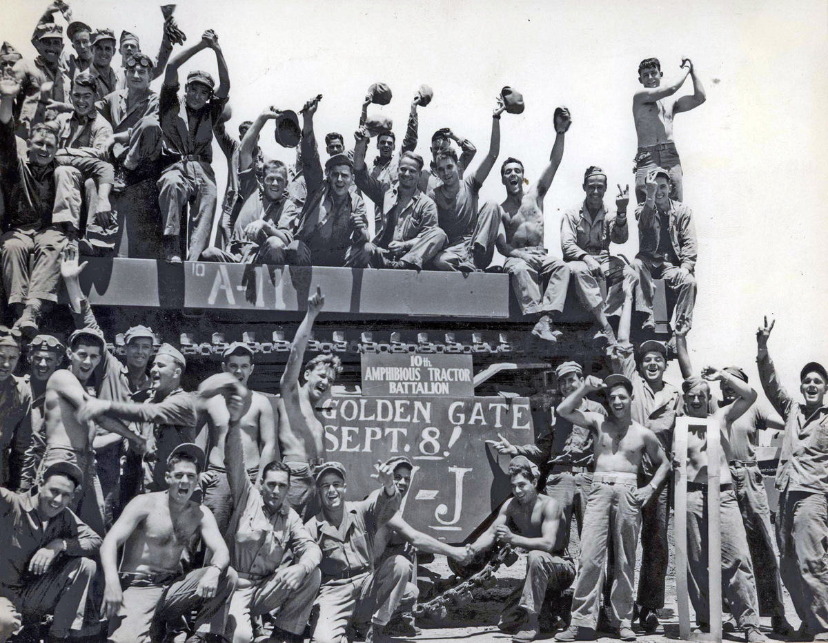 Marines celebrate the end of WWII and Victory over Japan, 1945.