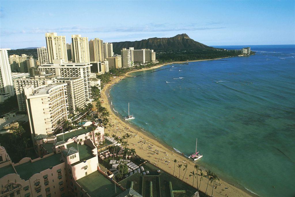 an aerial view of waikiki beach in hawaii