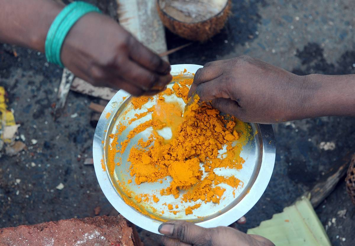 Women pick up powdered turmeric from a plate.