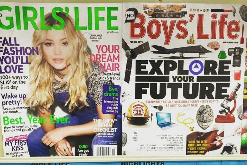 the difference between a boy's and girl's magazine