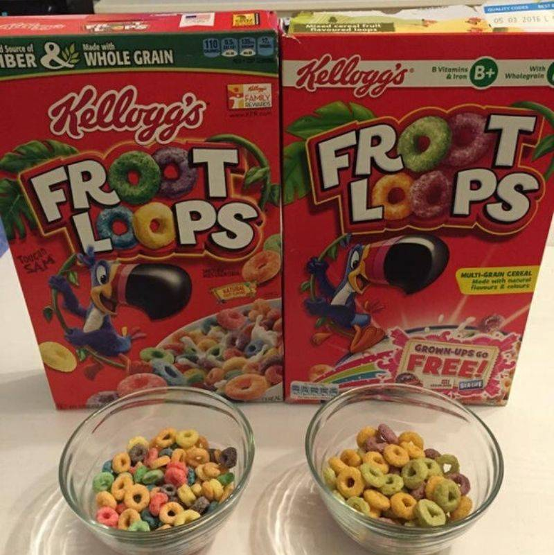 The different colors of Fruit Loops from different countries