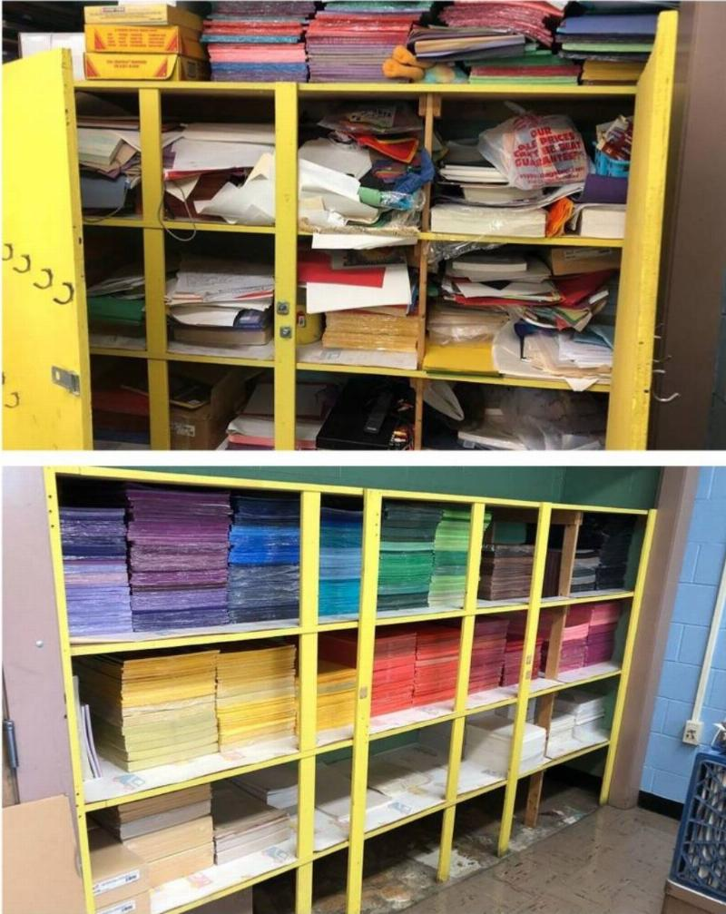 paper art supply closet reorganized into perfectly color-coded stacks