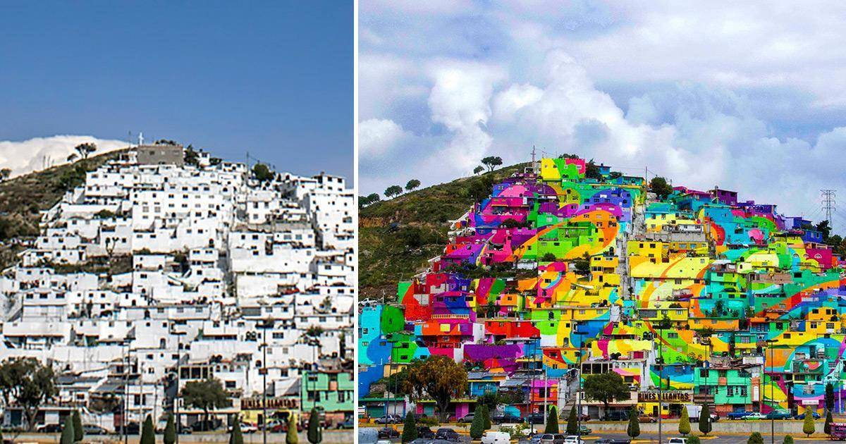 before (white buildings) and after (colorful buildings as large mural) of city on mountainside