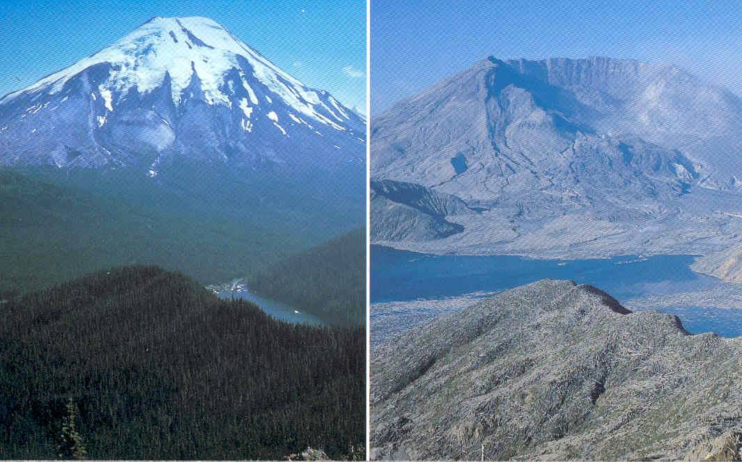 mount st. helens before (full mountain) and after (collapsed look) eruption in 1980