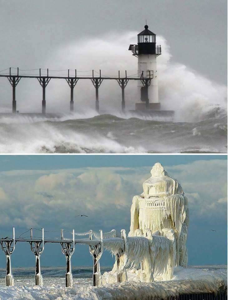 lighthouse normally vs. covered in snow and ice