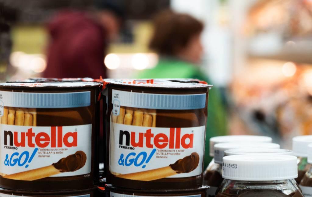 Jars of Nutella by Ferrero seen on a shelf