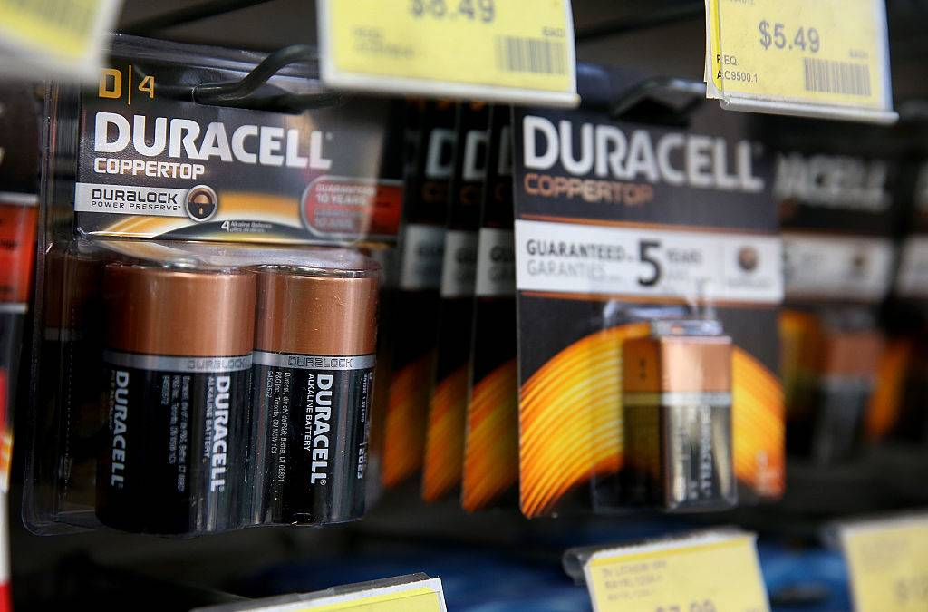 Duracell batteries are displayed on a shelf