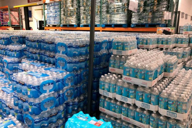Pallets of bottled water stacked at Costco