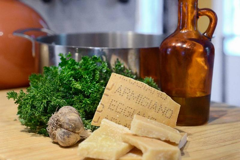 Basic ingredients as Christine Burns makes a parmigiano-reggiano broth with ravioli
