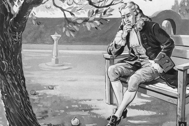 Newton looking at an apple