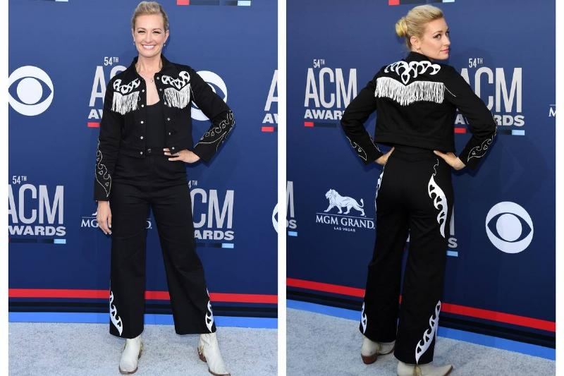 Beth Behrs wears a gaucho-inspired outfit to the ACM Awards.