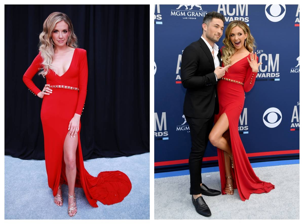 Carly Pearce shows off her dress at the 2019 ACM Awards.