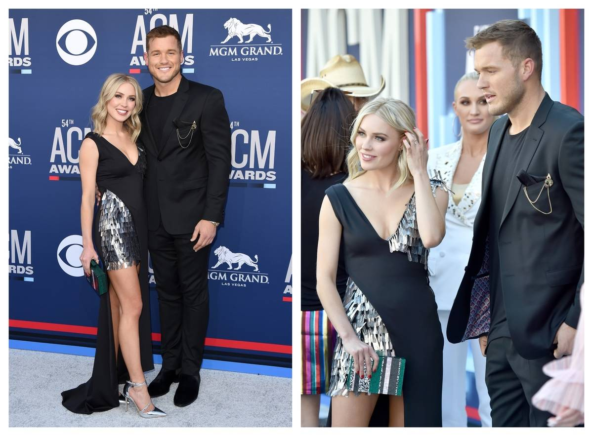 Cassie Randolph poses with Colton Underwood at the ACM Awards in 2019.