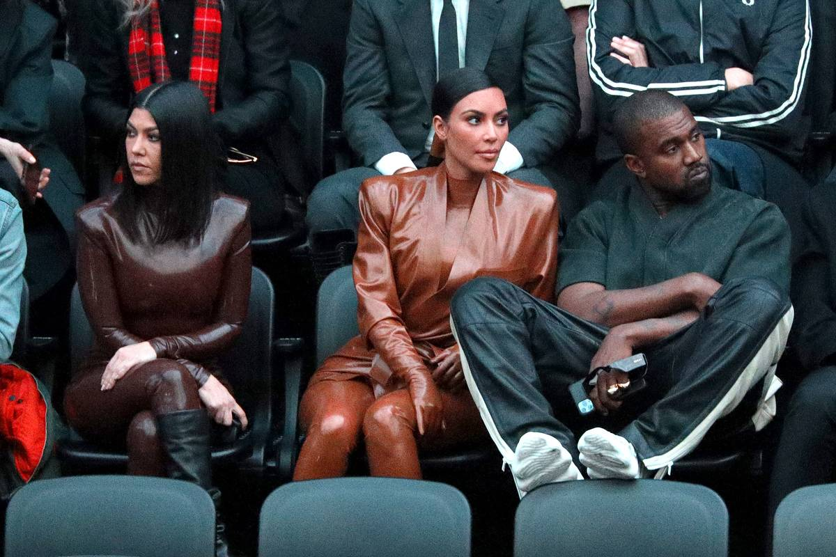 kourtney kim and kanye at paris fashion week in march 2020