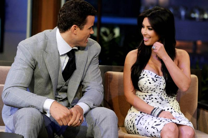kim kardashian and kris humphries appearing on jay leno