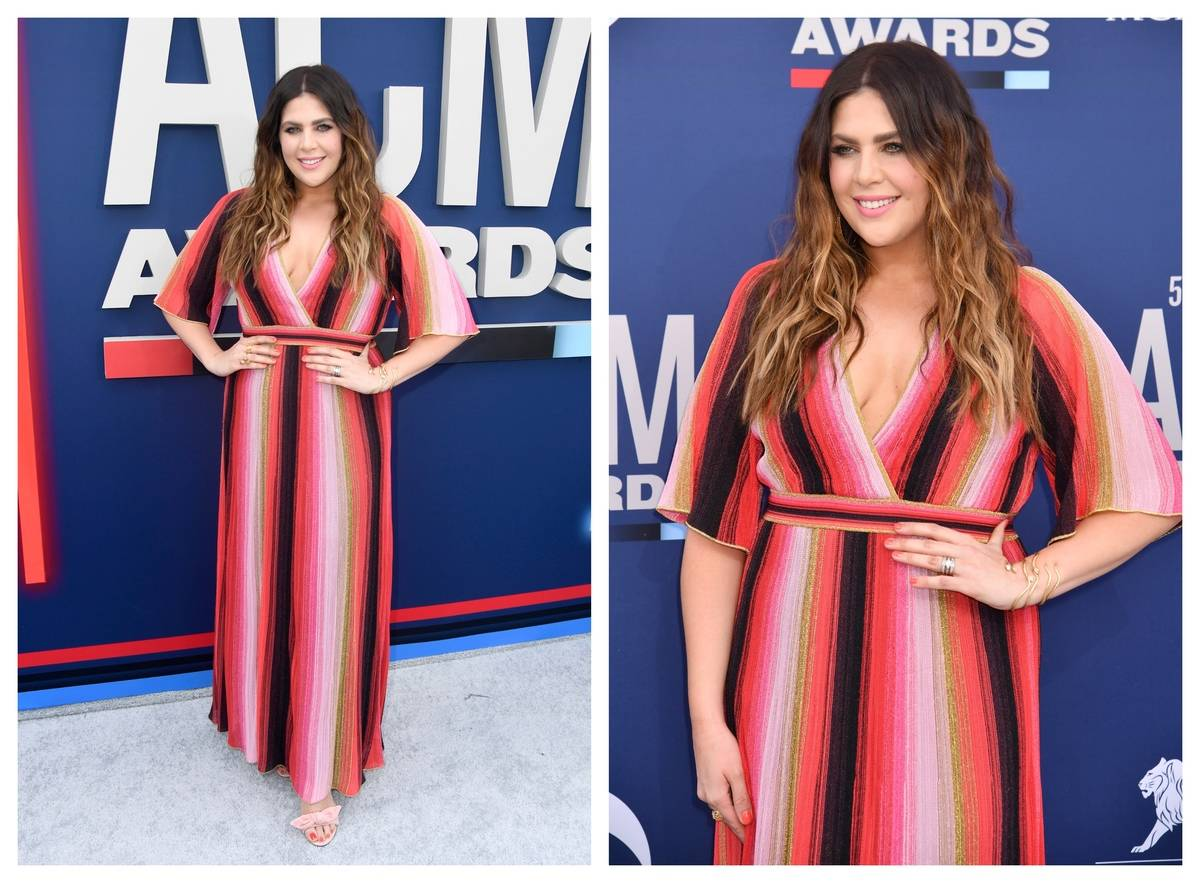 Hillary Scott of Lady A appears on the ACM red carpet.