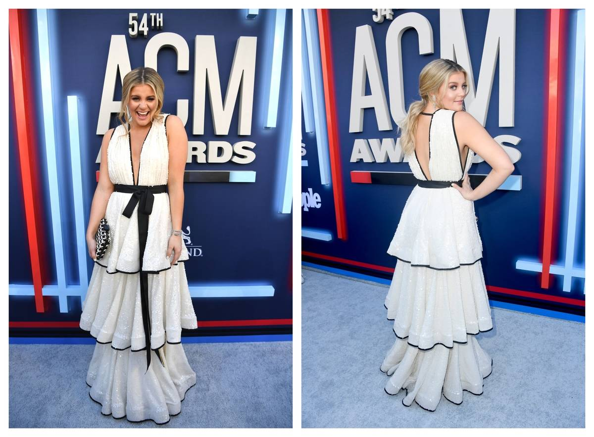 Lauren Alaina shows off her gown at the ACM Awards in 2019.