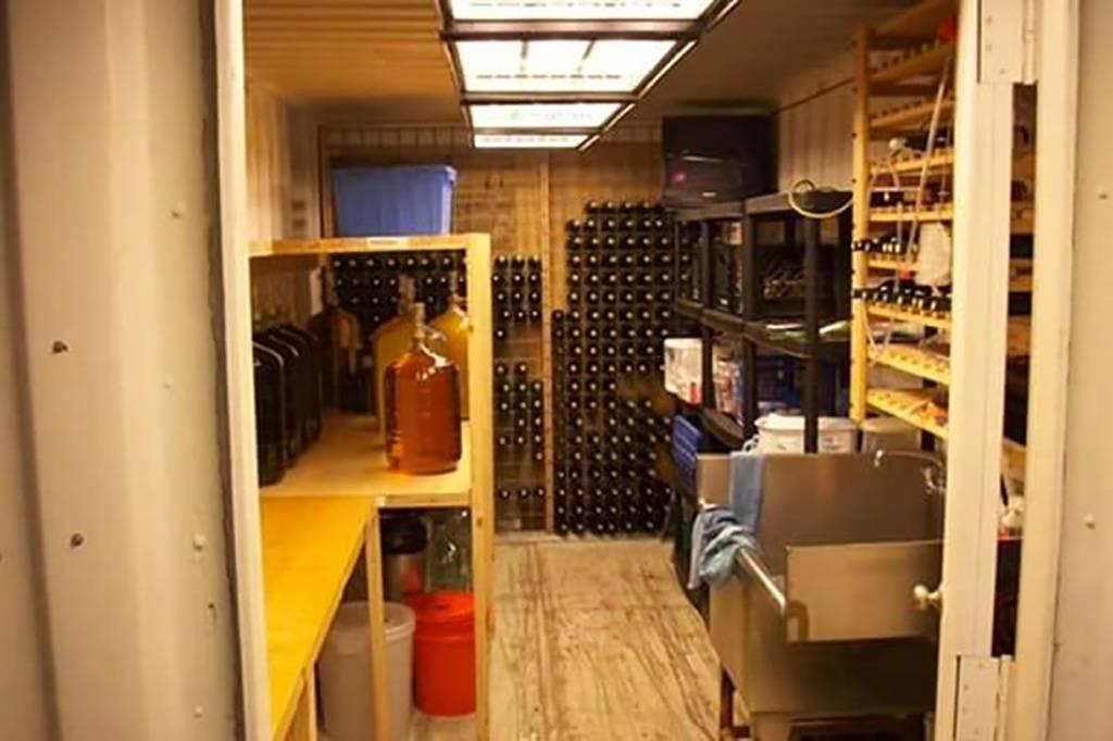 Inside the wine cellar