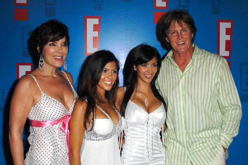 bruce jenner with kris plus kourtney and kim red carpet