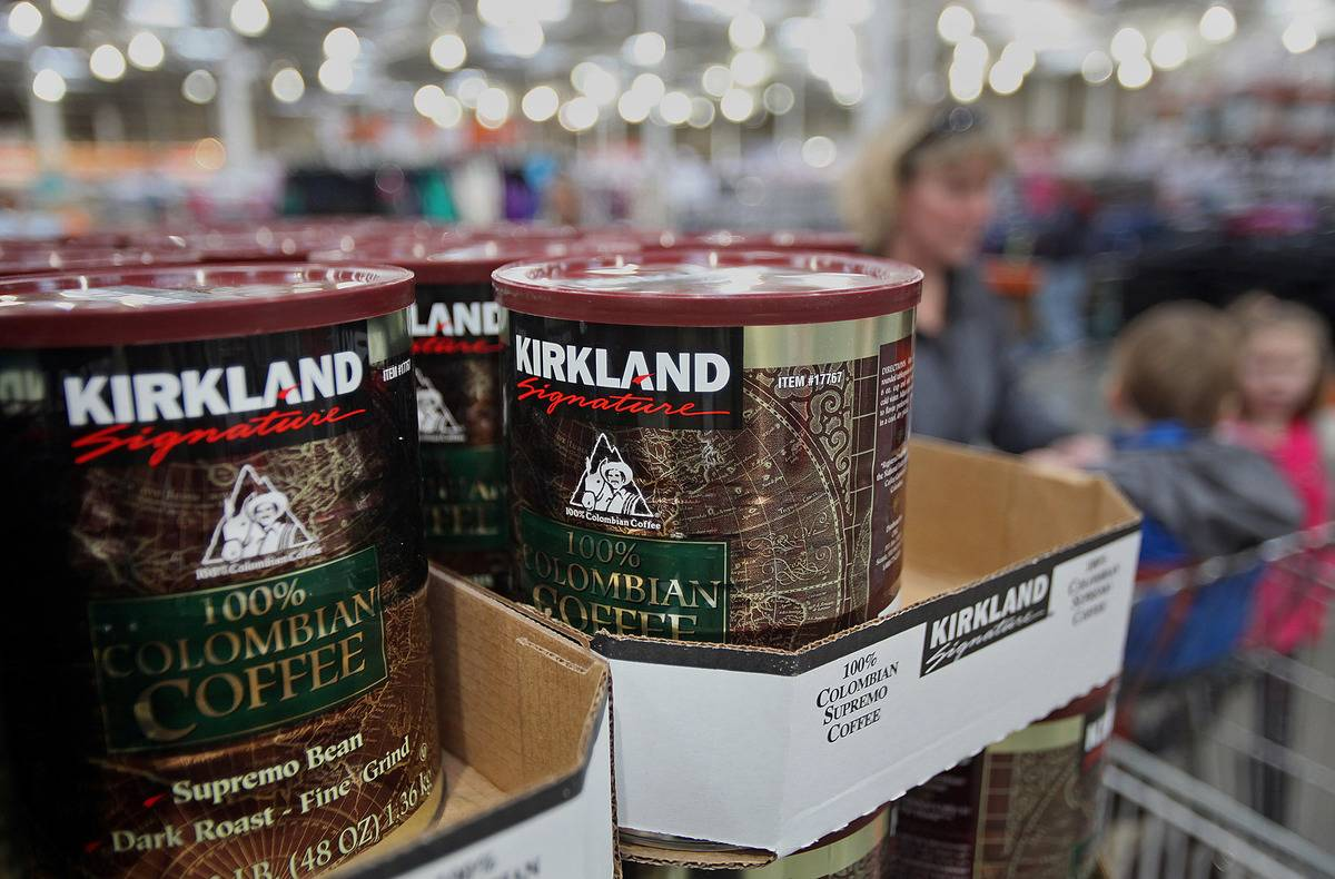 Cans of Kirkland Signature brand Colombian coffee